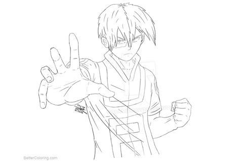 Boku No Hero Academia Coloring Pages Todoroki Lineart By
