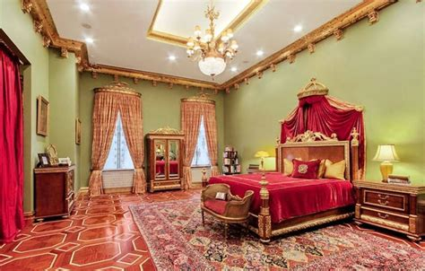 Red And Gold Master Bedroom