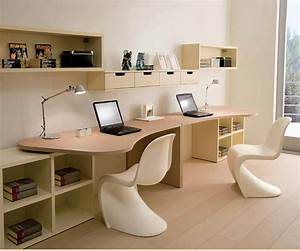 Twin, Study, Desk, With, Unique, White, Chairs