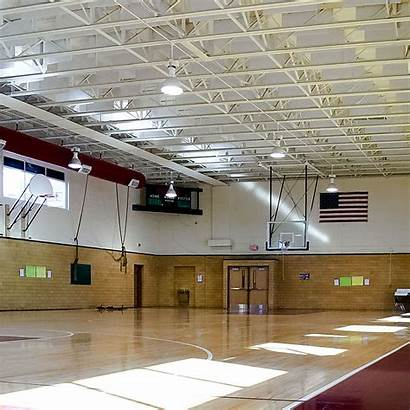 Middle Moody Sound Acoustical Basketball Baffle Ceiling
