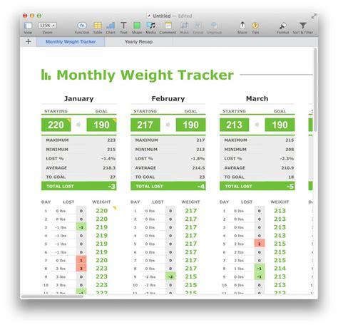 monthly weight tracker template  numbers mactemplatescom