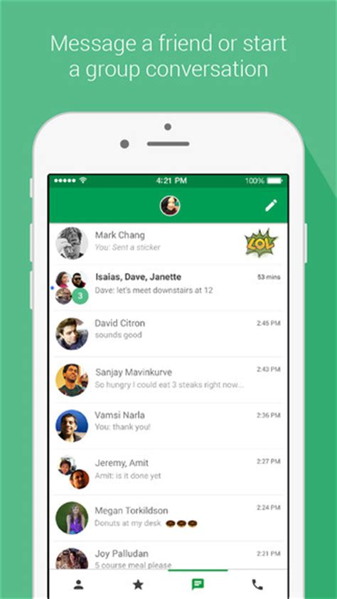 hangouts app iphone hangouts free messaging and voice on the app