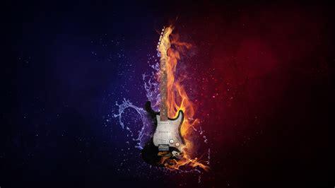 hd flaming guitar desktop wallpaper