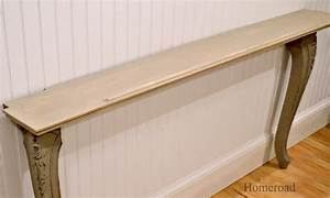two recycled table legs and a wall shelf become a narrow With sofa table between couch and wall