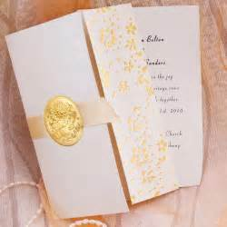 wedding invitations sets gold embossed floral deco tri fold wedding invitation sets ewri011 as low as 1 39
