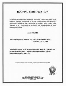 roof certification sample real estate roofing With roof certification template