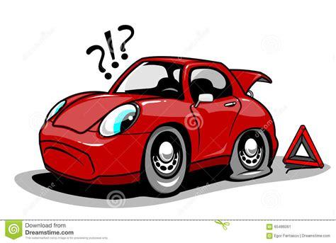 Cartoon Car With A Flat Tire Stock Vector