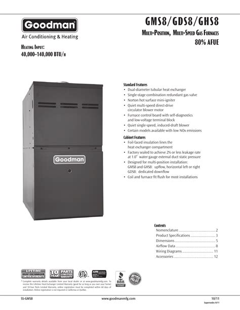 Goodman Mfg Gds User Manual Pages Also For Gms