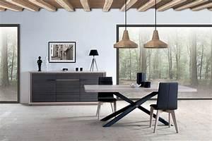 Table Sejour Design : salle a manger table pied metal plateau chene industriel ~ Teatrodelosmanantiales.com Idées de Décoration
