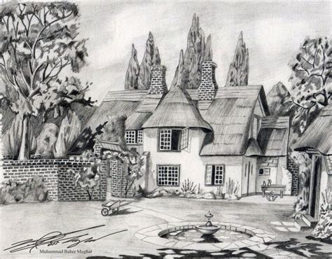 House Sketches Pencil Nature Scenery