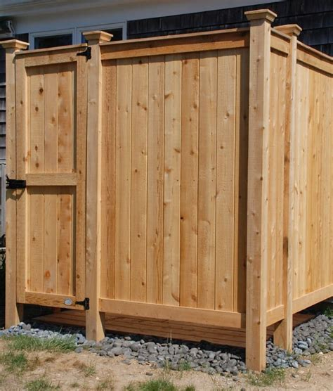 outdoor shower kit enclosures cedar wall mount showers