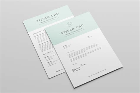 free minimalist resume cv design template with cover