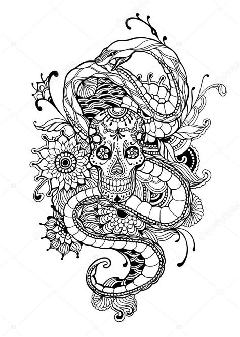 Skull and snake tattoo | Skull and Snake - adult coloring page. Hand drawn - Skull, Snake
