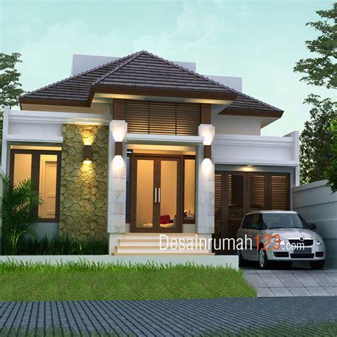 desain rumah  lantai bergaya tropis  lahan