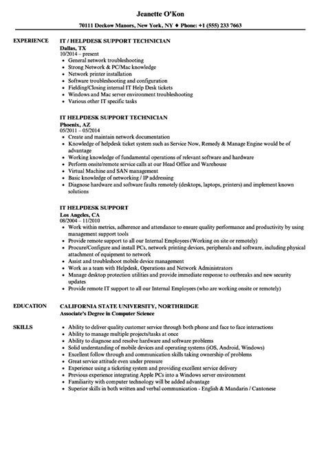 Help Desk Support Resume by 12 It Support Resume Exles 2014 Robbiesavage8