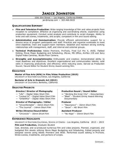 Tv Production Resume Exles by Production Resume Sle
