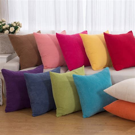 white sofa with colorful pillows 2016 sale corduroy solid decorative throw pillow cases