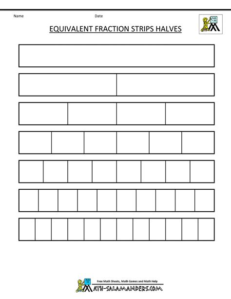 Fraction Strip  Equivalent Fractions