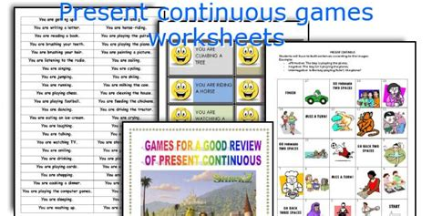 Present Continuous Games Worksheets
