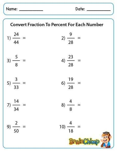fractions to percents worksheet fractions decimals