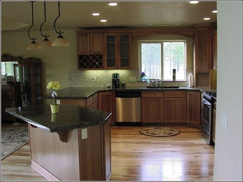 Hickory Kitchen Cabinets With Dark Countertop   Cabinet