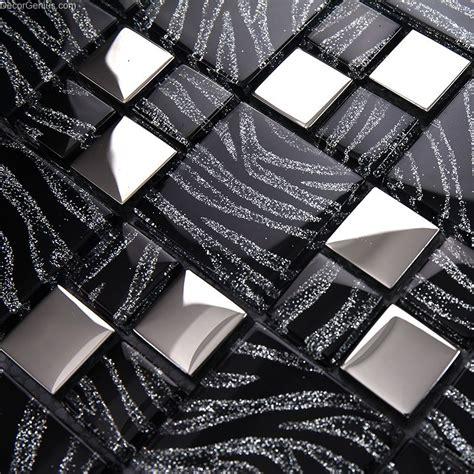 pure black metal wall decor kitchen galvanized mosaic