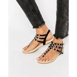 asos fabienne studded flat sandals looks stylish as she lunches with