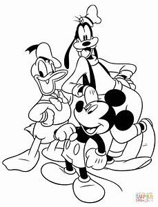 Mickey Donald And Goofy Coloring Page Free Printable