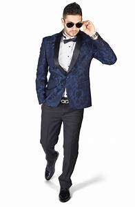Slim Fit 1 Button Navy Blue Shawl Satin Collar Floral Jacket Black Pants 1714 - Azar Suits
