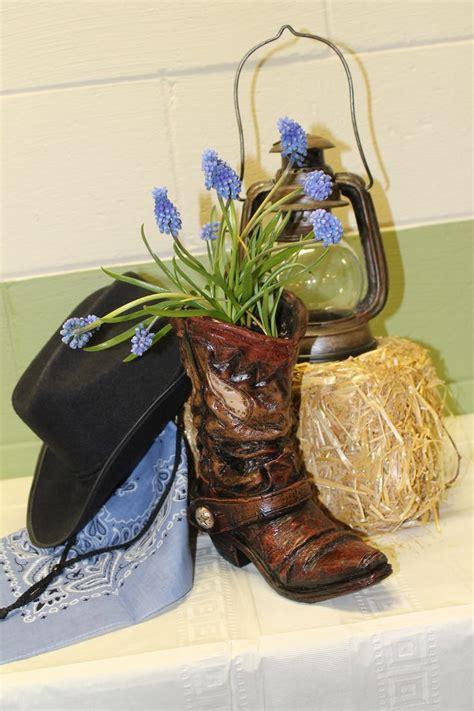 western party arrangement decoration cowboy boot hat