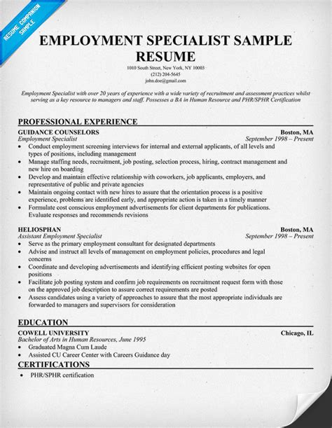 Employment Specialist Resume by Sle Cover Letter Sle Resume Employment Specialist