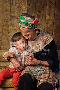 Vietnamese Grandmother from Flower Hmong Tribe With Her ...