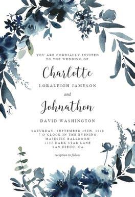 indigo flowers wedding invitation template   island