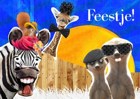afbeelding bloemen met dier vrolijke dieren uitnodiging uitnodigingen kaartje2go
