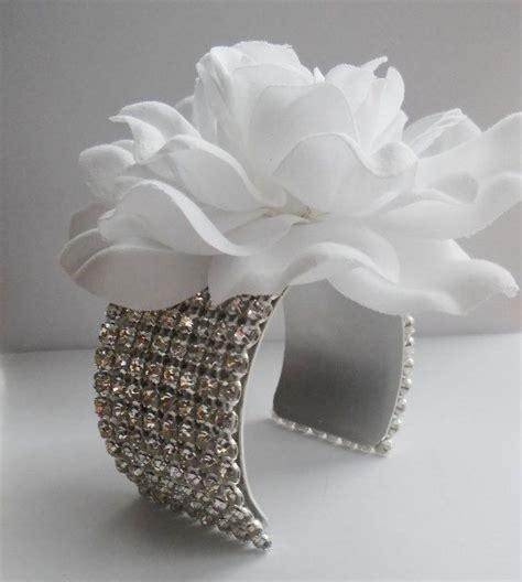 gardenia corsage rhinestone flower cuff bracelet