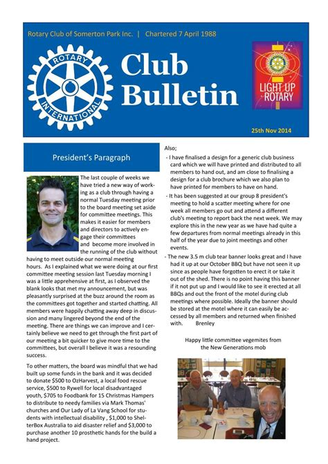 Team Newsletter Template by Rotary Club Of Somerton Park Bulletin 25 11 2014