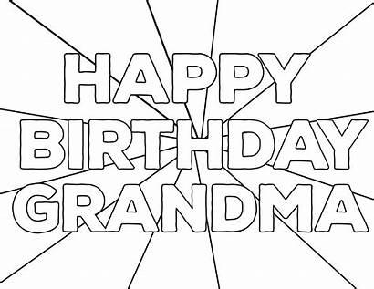 Coloring Birthday Happy Printable Grandma Pages Grandpa