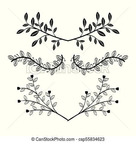 border  leaves design set  decorative hand drawn
