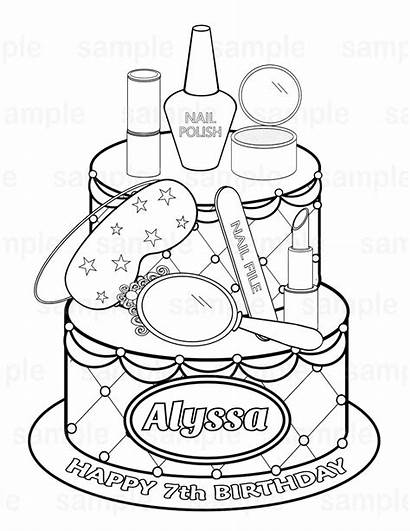 Spa Coloring Party Printable Cake Pages Sheets