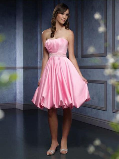 ruffled satin knee length belt pink bridesmaid dresses zoombridalcom prlog