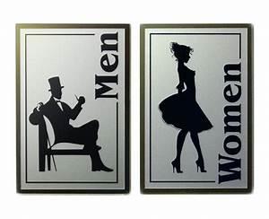 Vintage retro style men women restroom sign for Men and women bathroom symbols