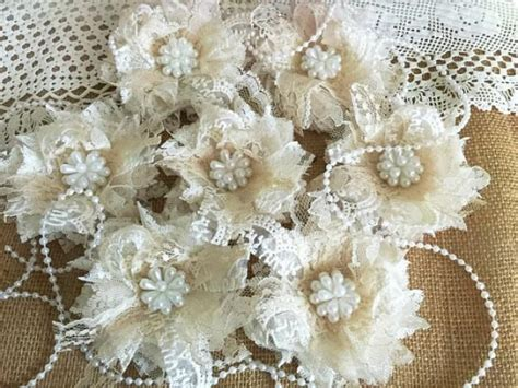 shabby chic ivory  honey color lace handmade flowers