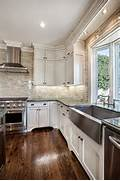 Delectable White Kitchen Cabinets Slate Floor Gallery Classic White Kitchen With Subway Tile Stainless Sink With Green