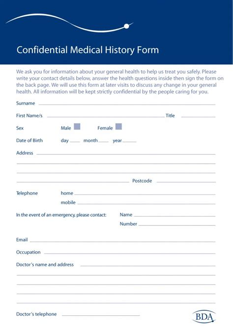 medical form 67 history forms word pdf printable templates