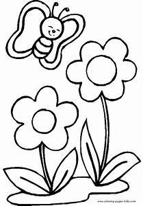 Free butterflies and flowers coloring pages