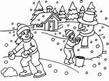Coloring Winter Printable Snow Playing Clip Library sketch template