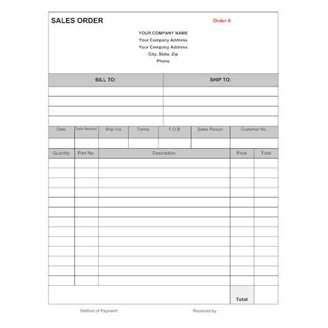 sle order form sales order form