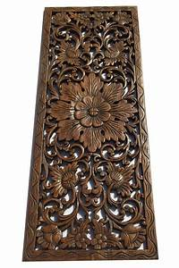 Tropical wood carving wall panels floral plaque