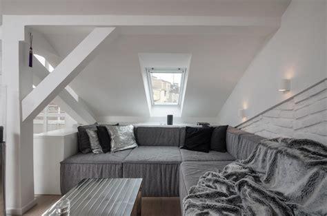 modern attic loft  grey palette  prague
