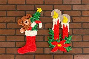 Glitter plaques vintage melted popcorn holiday decorations